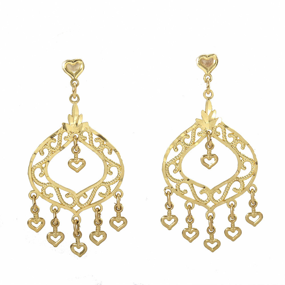 14k yellow gold filigree design chandelier earrings