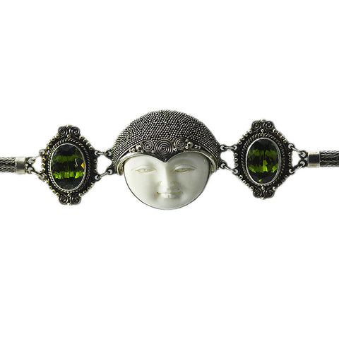 Carved Bone Face Bracelet with Peridot