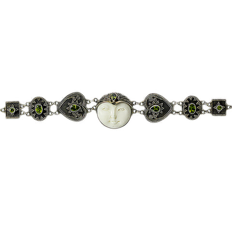 Carved Bone Face with Peridot Stones Bracelet
