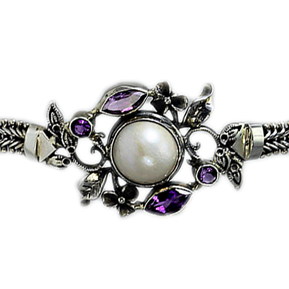 Sterling Silver Flower Pearl Bracelet with Amethyst