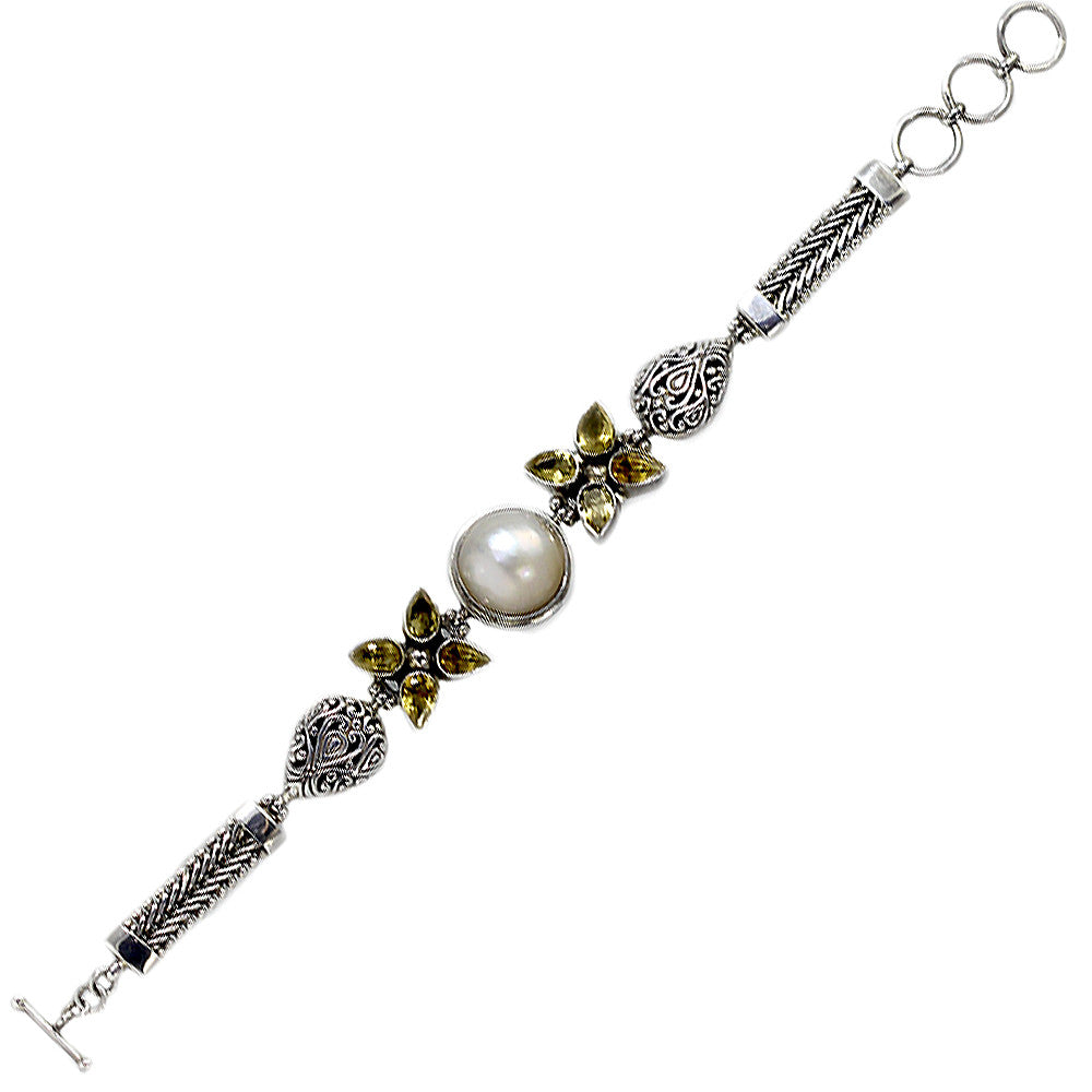 Sterling Silver Mabe Pearl and Semi-Precious Gemstone Bracelet