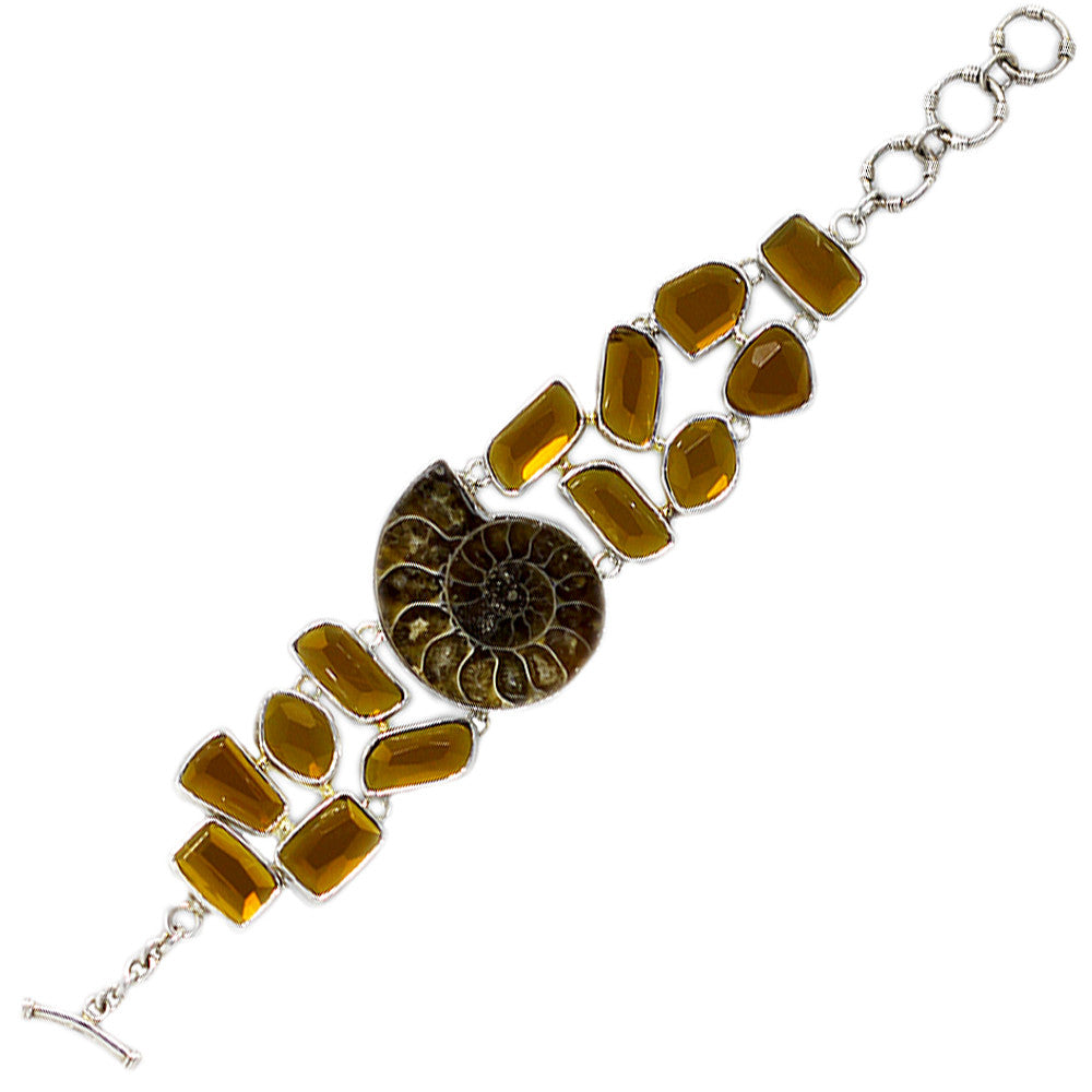 Sterling Silver Fossil and Citrine Toggle Bracelet