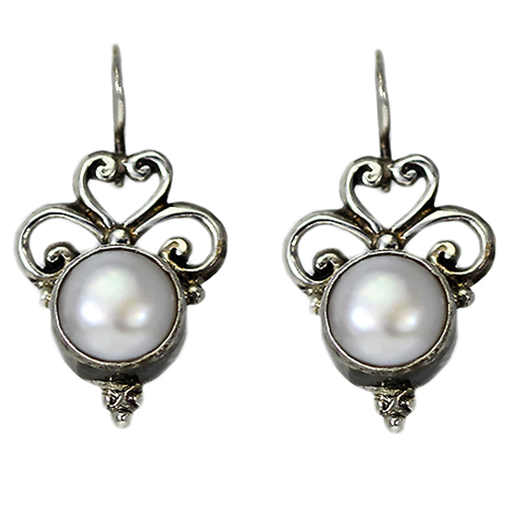 Sterling Silver Heart Pearl Earrings