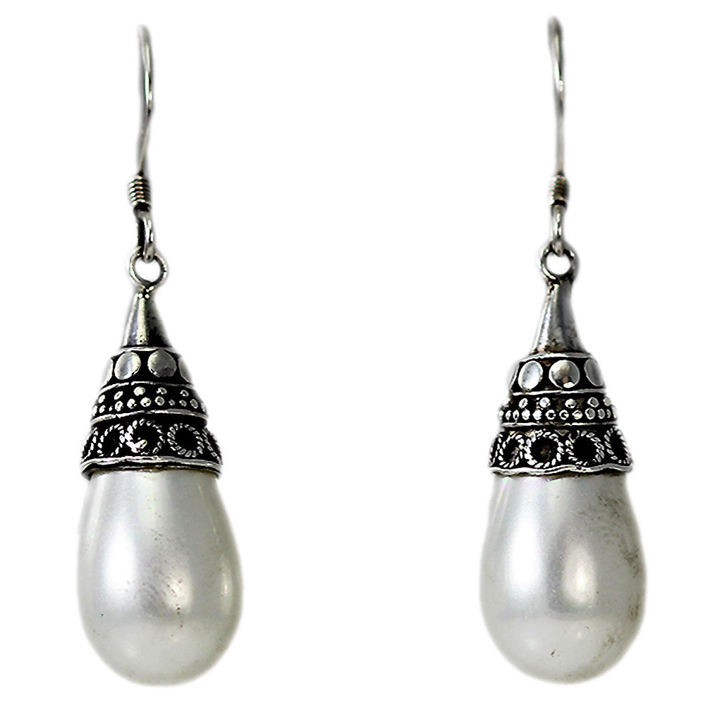 Sterling Silver Dangling Simulated Pearl Earrings