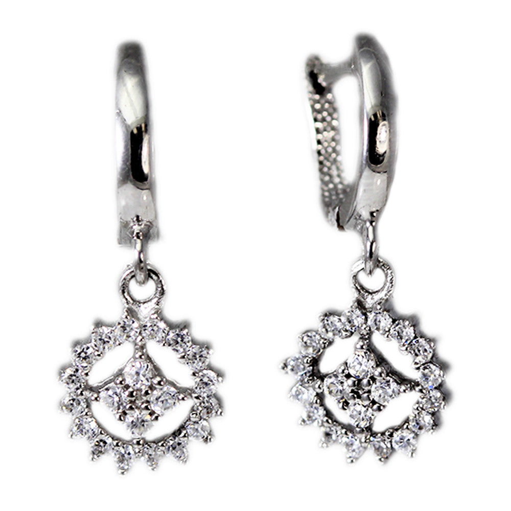 Sterling Silver Dangling CZ Earrings