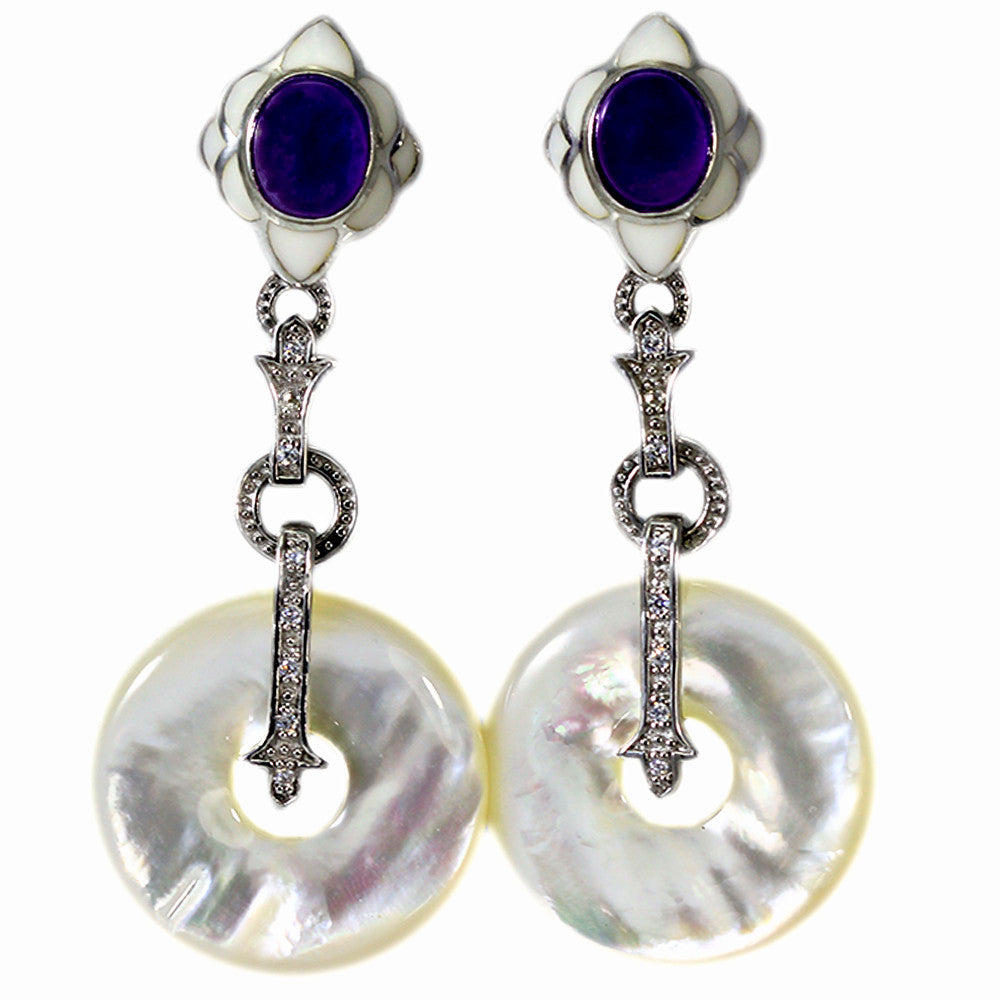 Sterling Silver Mother of Pearl, Enamel and Amethyst Dangling Earrings