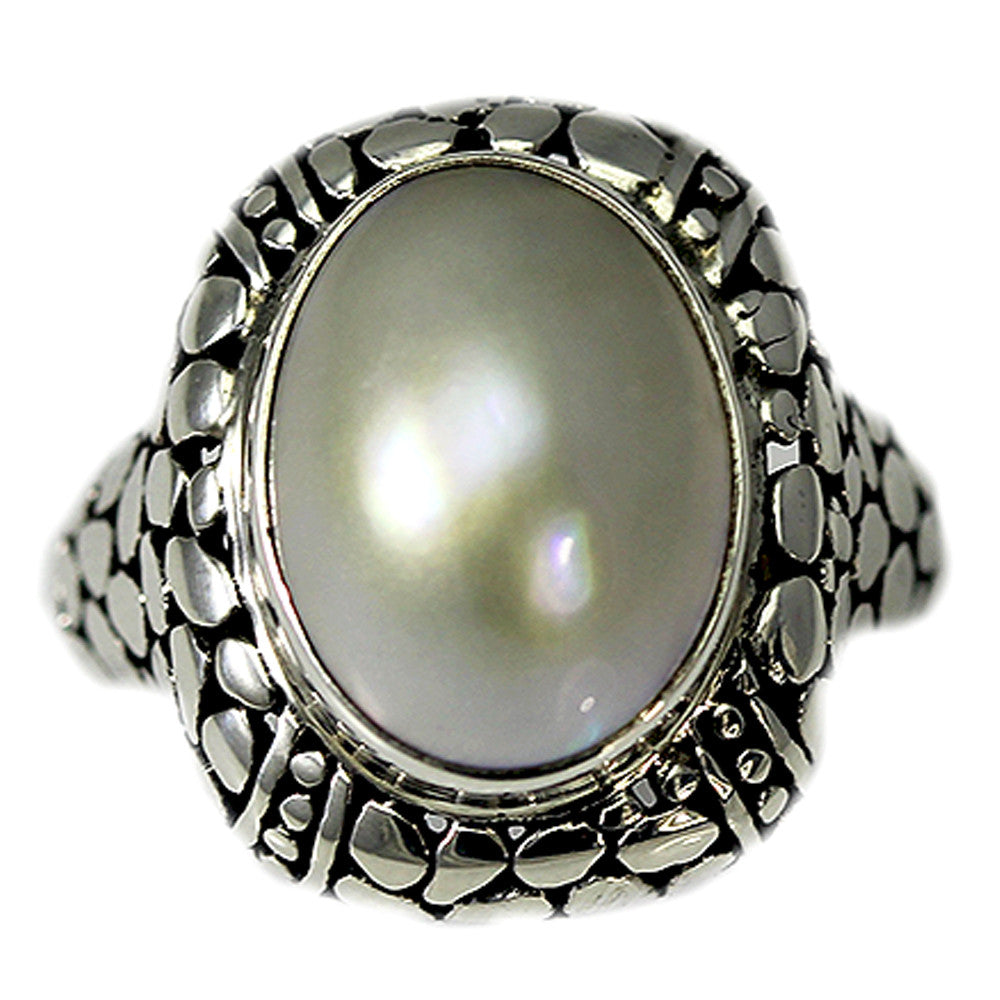 Sterling Silver Pebbled Pearl Ring