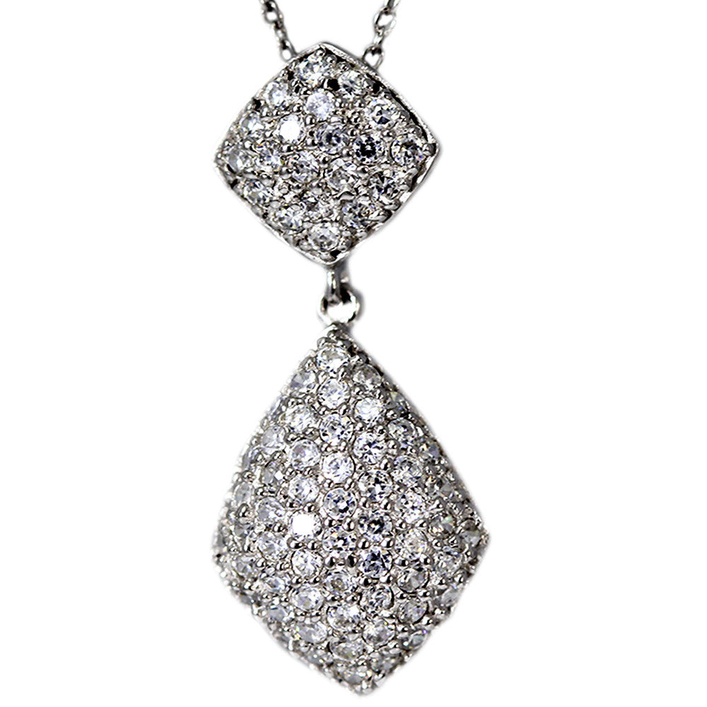 Cubic Zirconia Sterling Silver Dangling Necklace