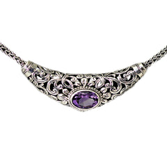 SS Swirl Detailed Amethyst Necklace