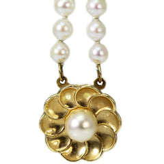 14K Yellow Gold Flower and Pearl Bracelet