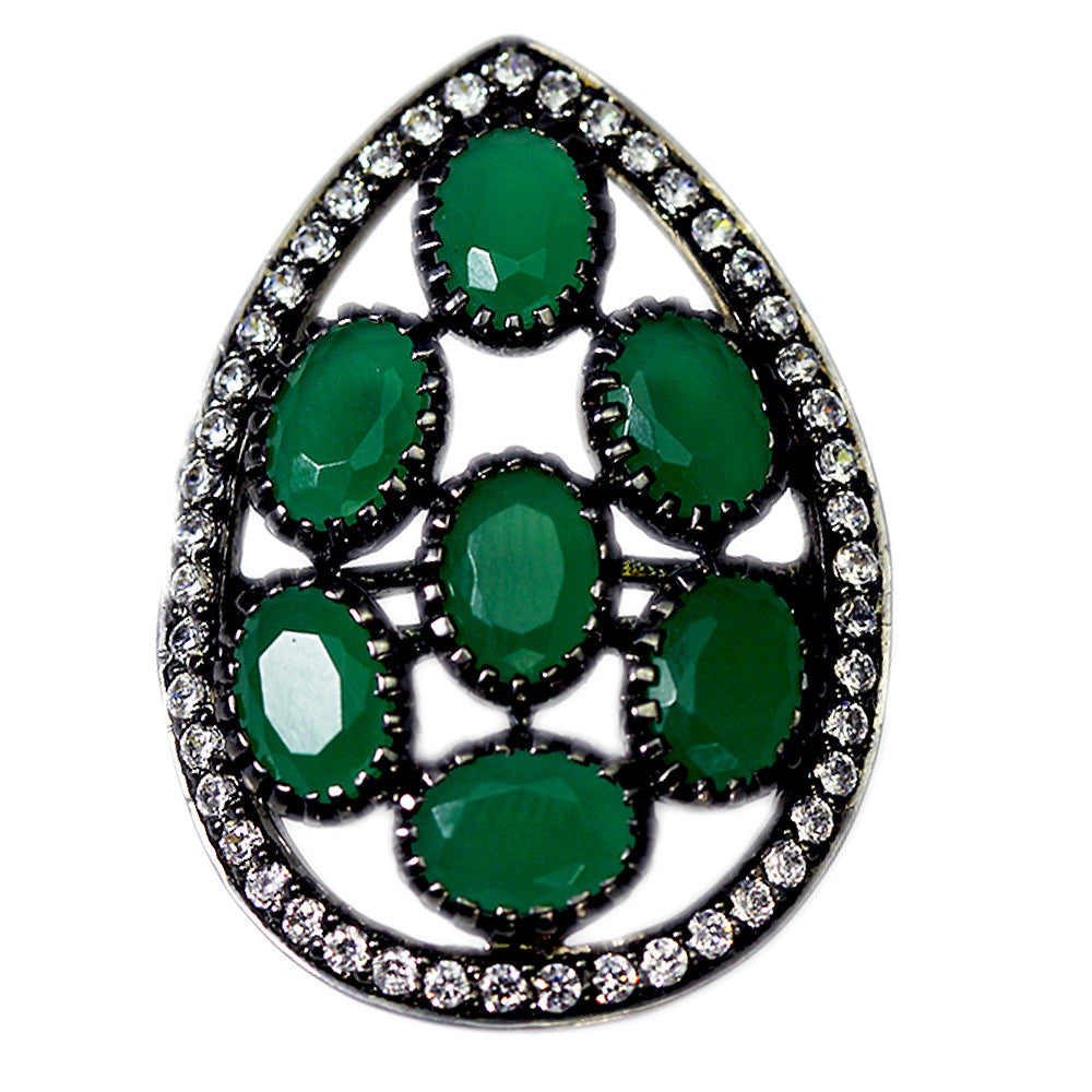Pear-Shaped Swarovski and Green Onyx Ring