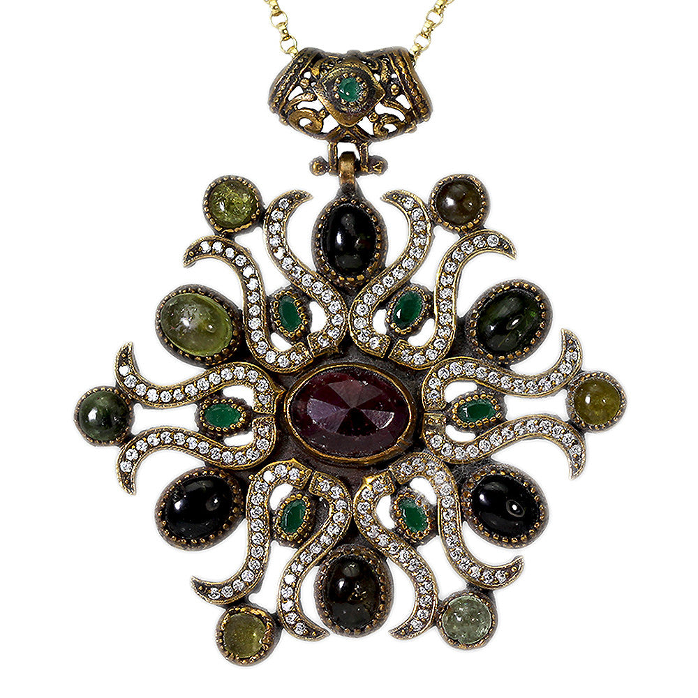 Large Ruby Stone Pendant with Emerald, Peridot and Garnet