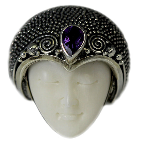 Amethyst Beaded Crown Carved Bone Face Ring