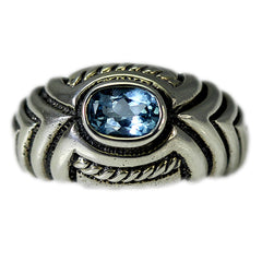 Decorative Shrimp Ring with Blue Topaz