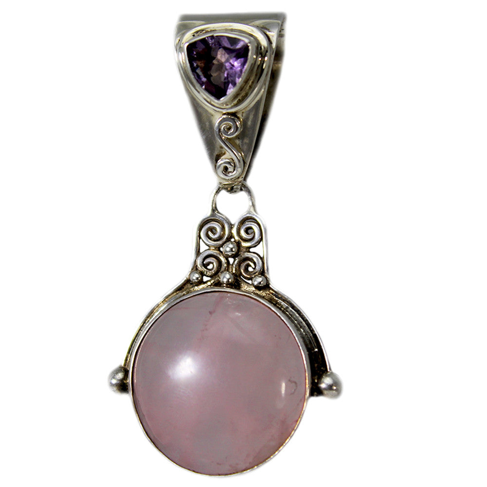 Handmade Sterling Silver Rose Quartz and Amethyst Pendant