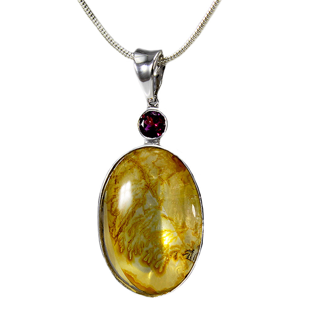 Sterling Silver Rutilated Quartz and Mozambique Garnet Necklace With Snake Chain