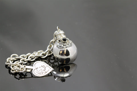 Handmade Sterling Silver Charm Bracelet with Round Charm with Choice of Gemstone