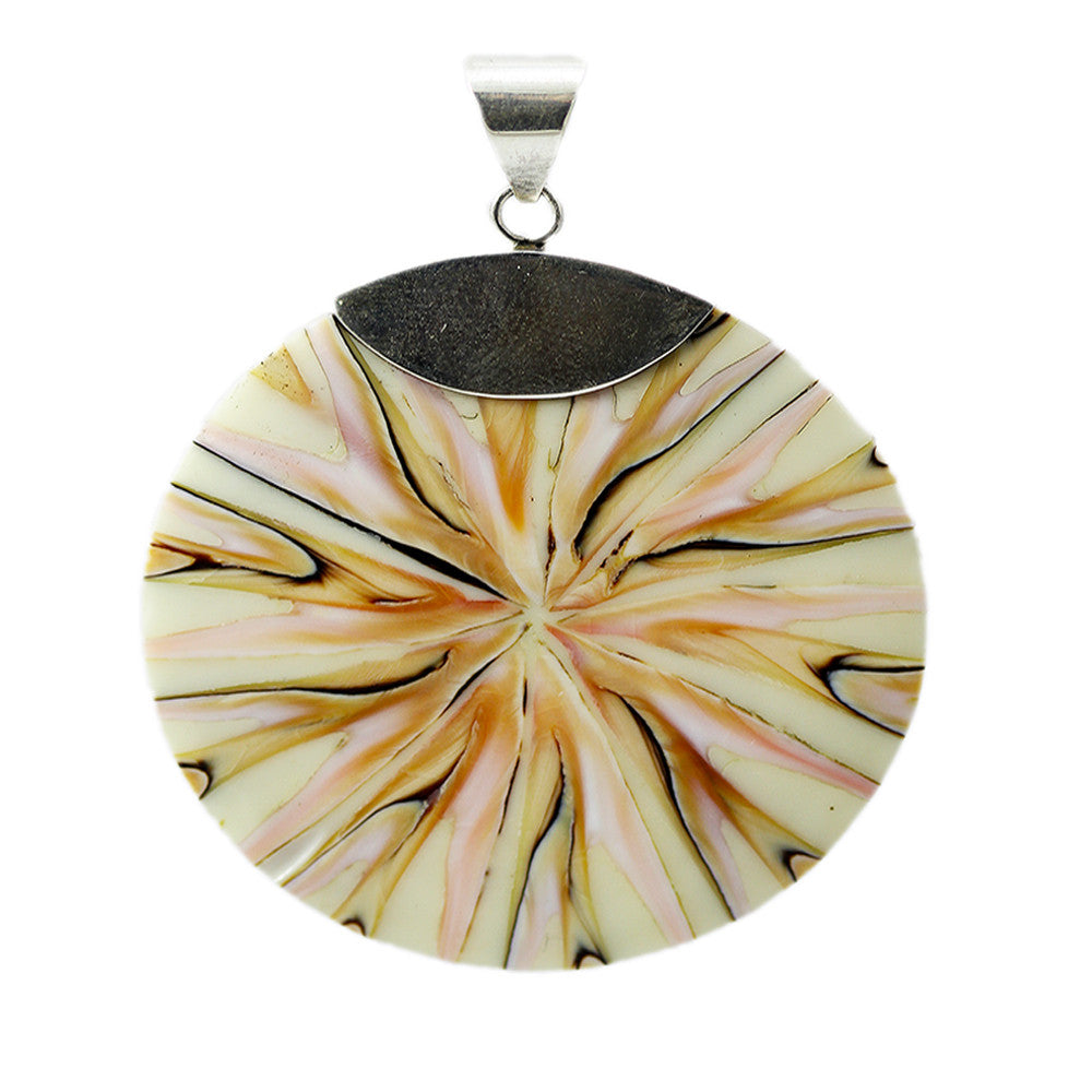 Beige with Pink-Tones Shell Pendant with Sterling Silver Bail