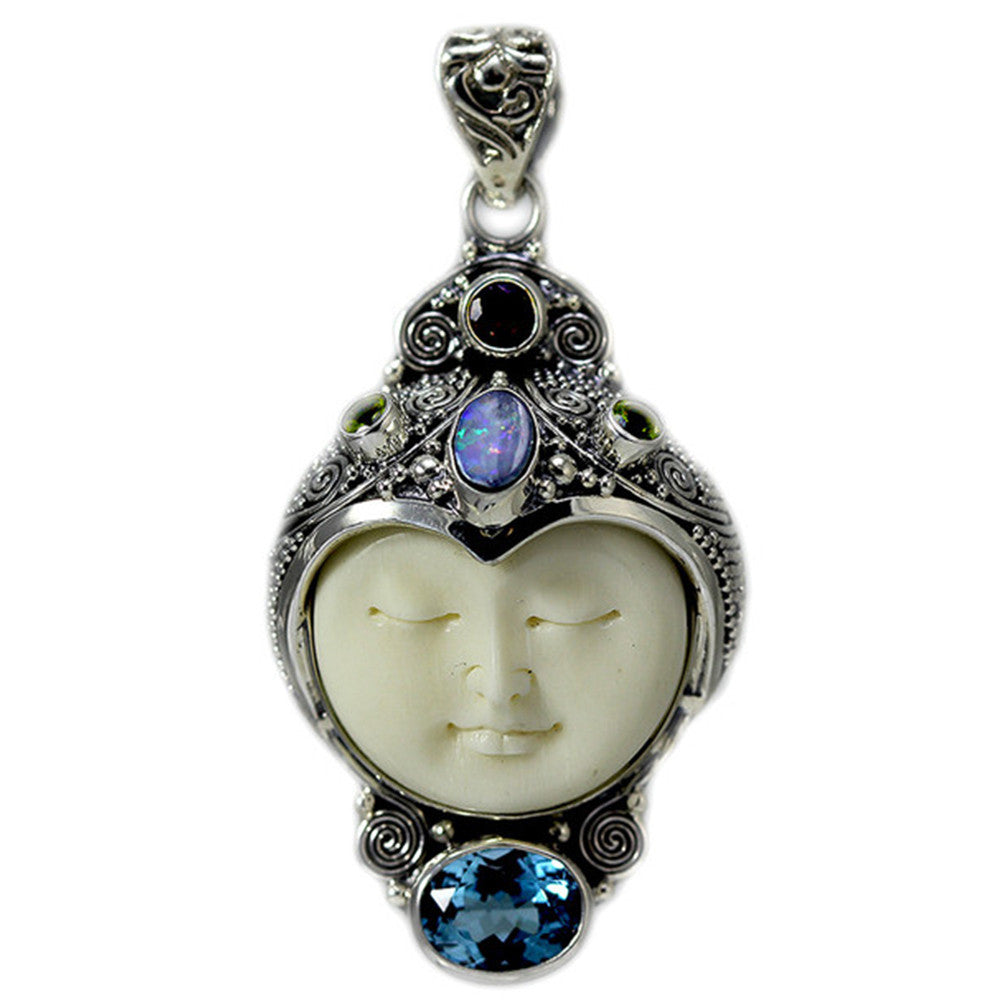 Sterling Silver Carved Bone Face Pendant with Opal, Blue Topaz, Garnet and Peridot
