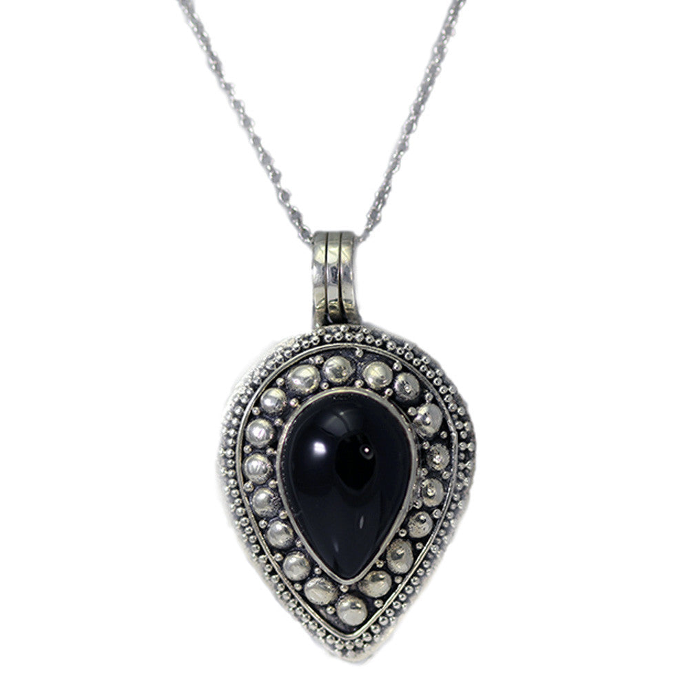 Teardrop Black Onyx Locket Necklace