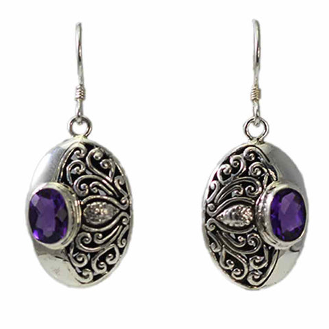 Swirl Amethyst Dangling Earrings