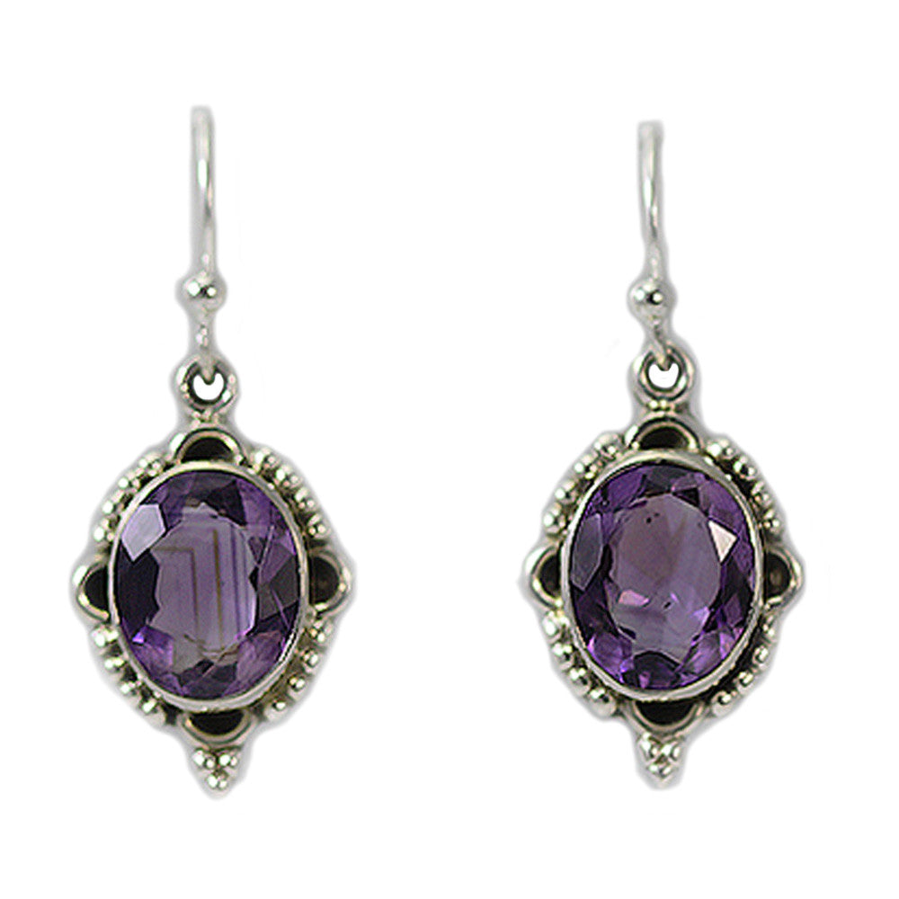 SS Beaded Amethyst Earrings