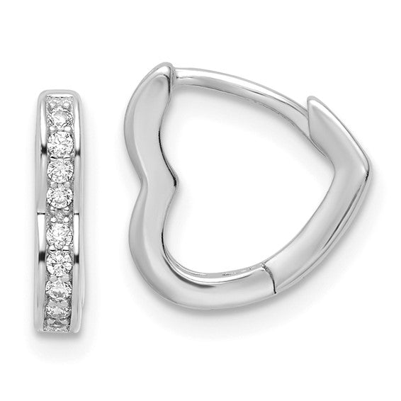 Sterling Silver Polished Rhodium-plated CZ Heart Shaped Hoop Earrings