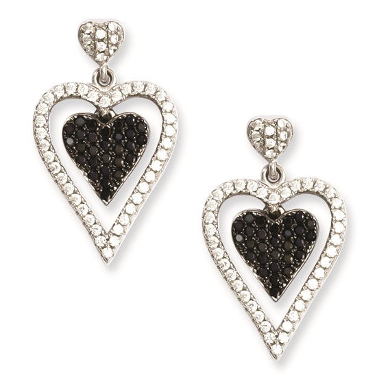 Sterling Silver and CZ Brilliant Embers Heart Dangle Post Earrings