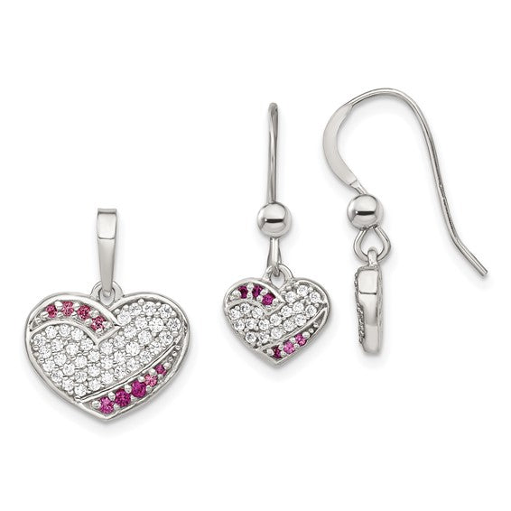 Sterling Silver Rhodium-plated CZ Heart Dangle Earring and Pendant Set
