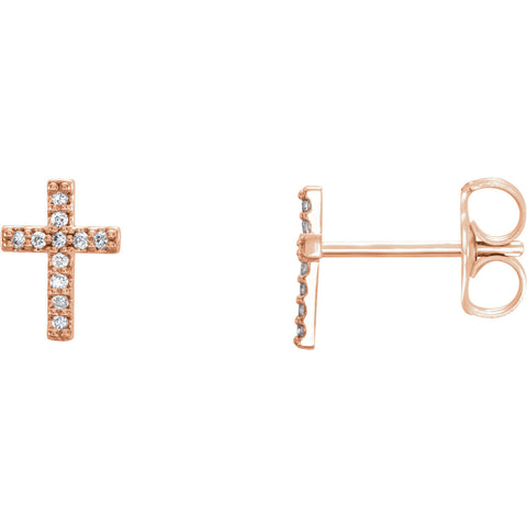 14K Rose .06 CTW Diamond Cross Earrings