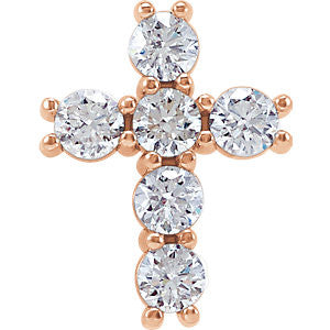 14K Rose Gold 1/3 CTW Diamond Cross Pendant