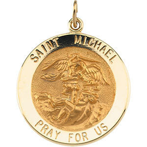 14K Yellow 25mm St. Michael Medal