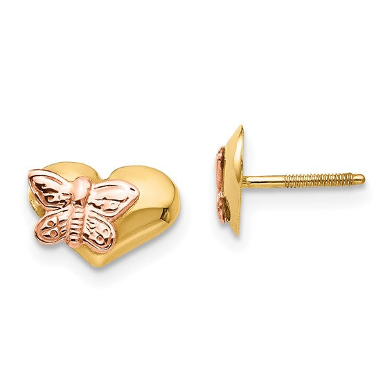 14k  Polished and Rhodium Butterfly Heart Screwback Earrings