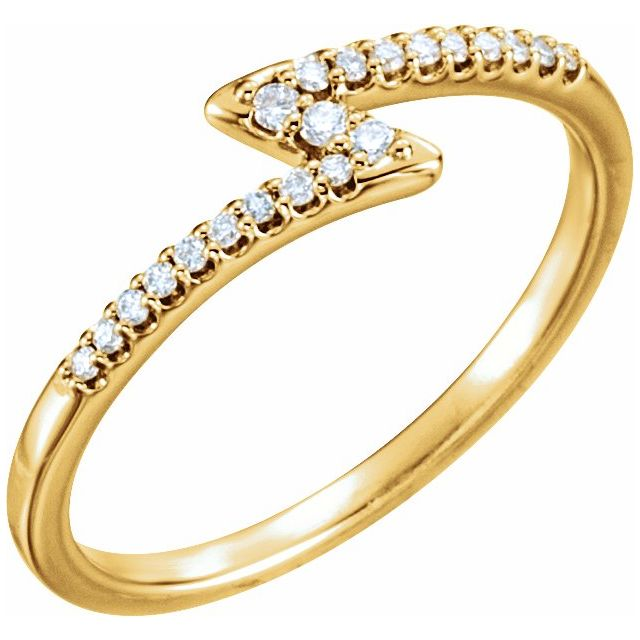 Yellow Gold Thunder Diamond Stackable Ring
