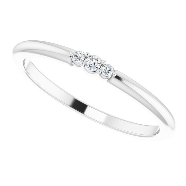 White Gold 3 Diamond Stackable Ring