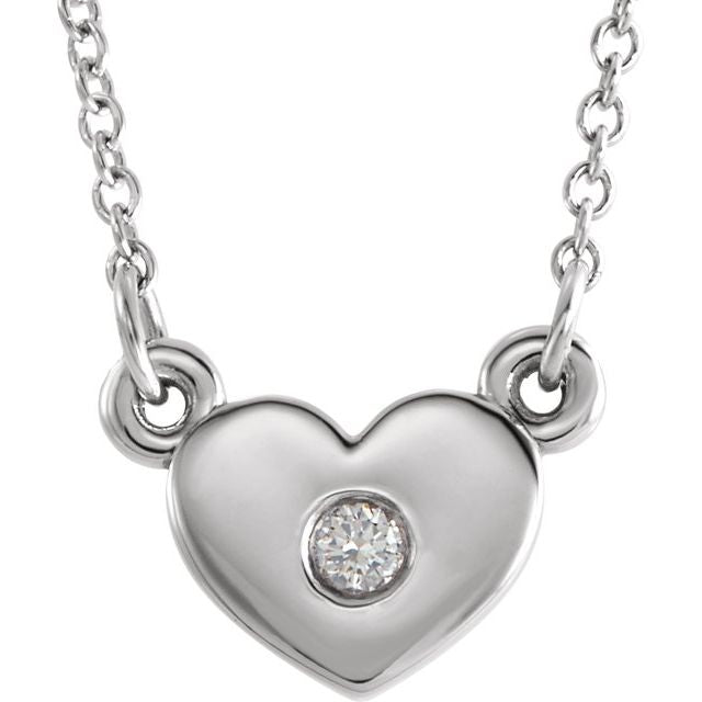 "Sterling Silver .03 CTW Diamond Heart 16"" Necklace"