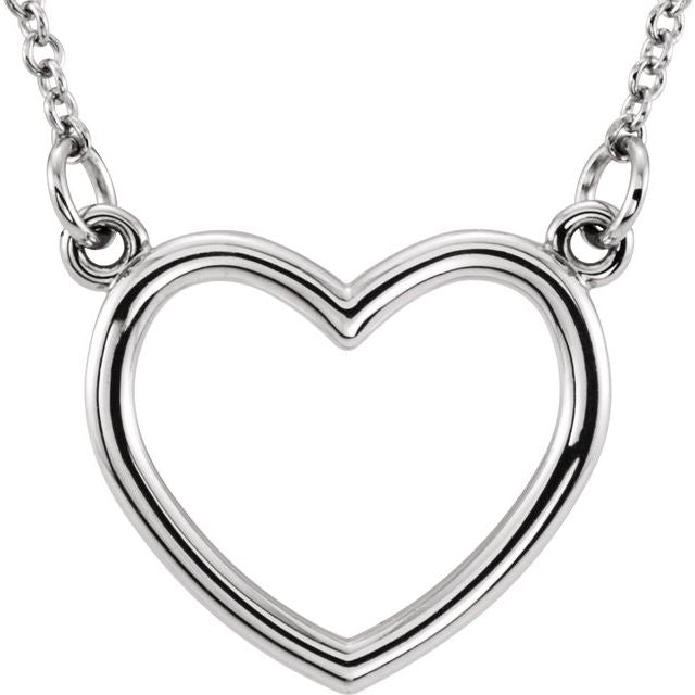 Sterling Silver 10.8x10 mm Heart 16