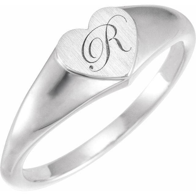 Sterling Silver 6.4 mm Heart Signet Ring
