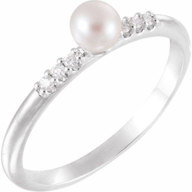 Sterling Silver Cultured Pearl & .03 CTW Diamond Stackable Ring