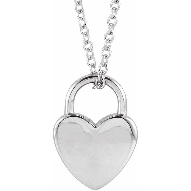 "Sterling Silver Engravable Heart Lock 16-18"" Necklace"