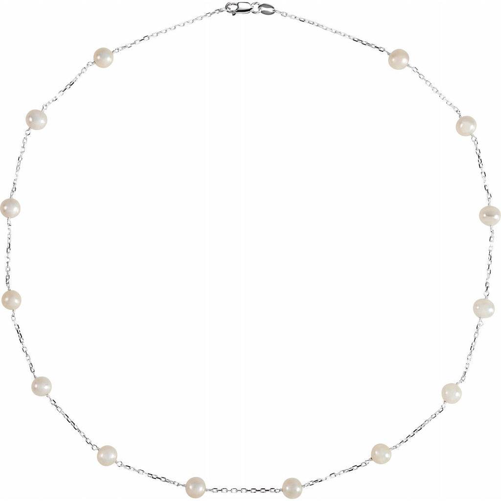 "Sterling Silver Freshwater Pearl 18"" Necklace"