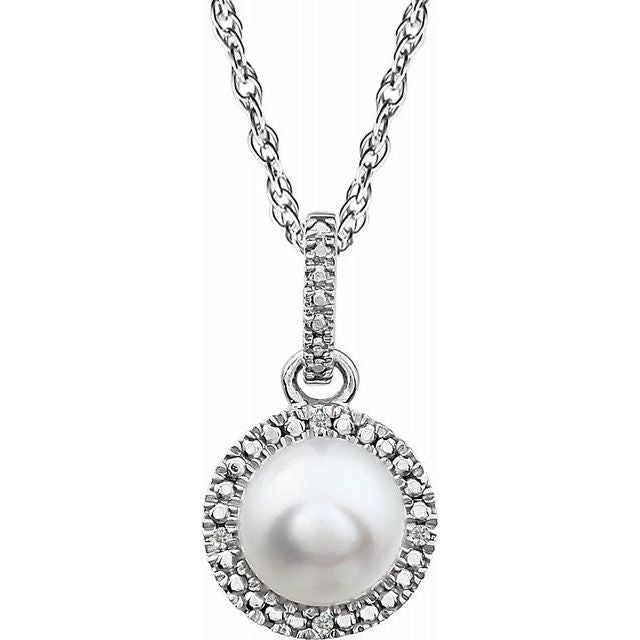 Sterling Silver Freshwater Pearl & Diamond Necklace
