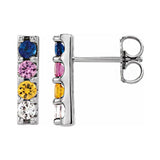 Sterling Silver Multi Color Sapphire Bar Earring