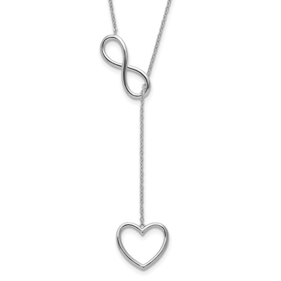 Sterling Silver Rhod-plated Infinity Drop Heart with 2 in ext Necklace