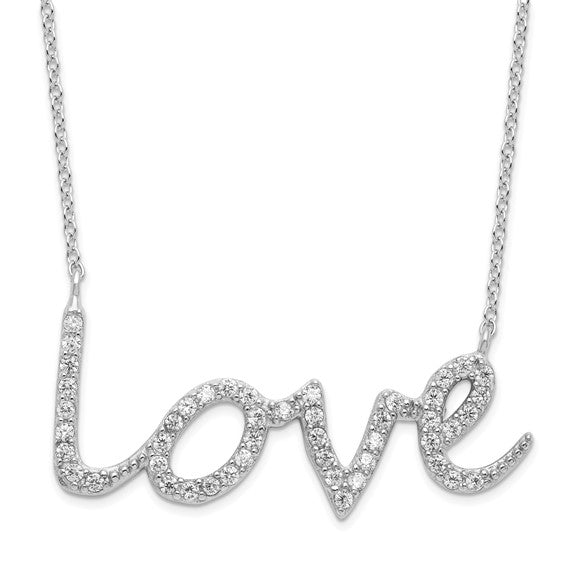Sterling Silver Rhodium-plated CZ LOVE with 2.5 in ext Necklace