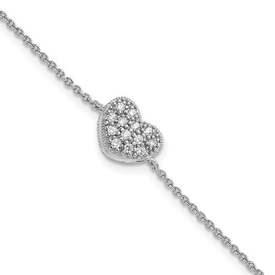 Sterling Silver Rhodium-plated CZ with 1in ext Heart Bracelet