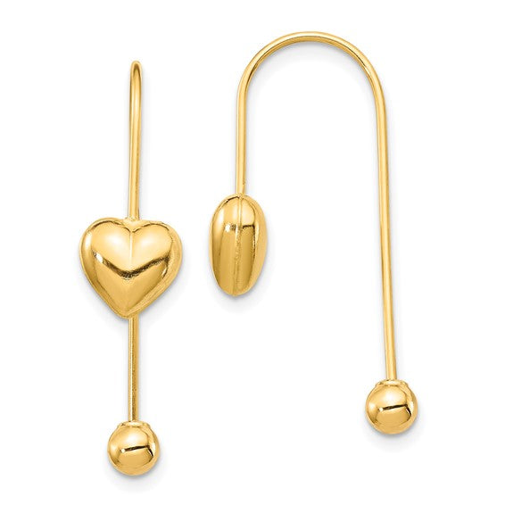 14K Puffed Heart with Screw End Threader Earrings