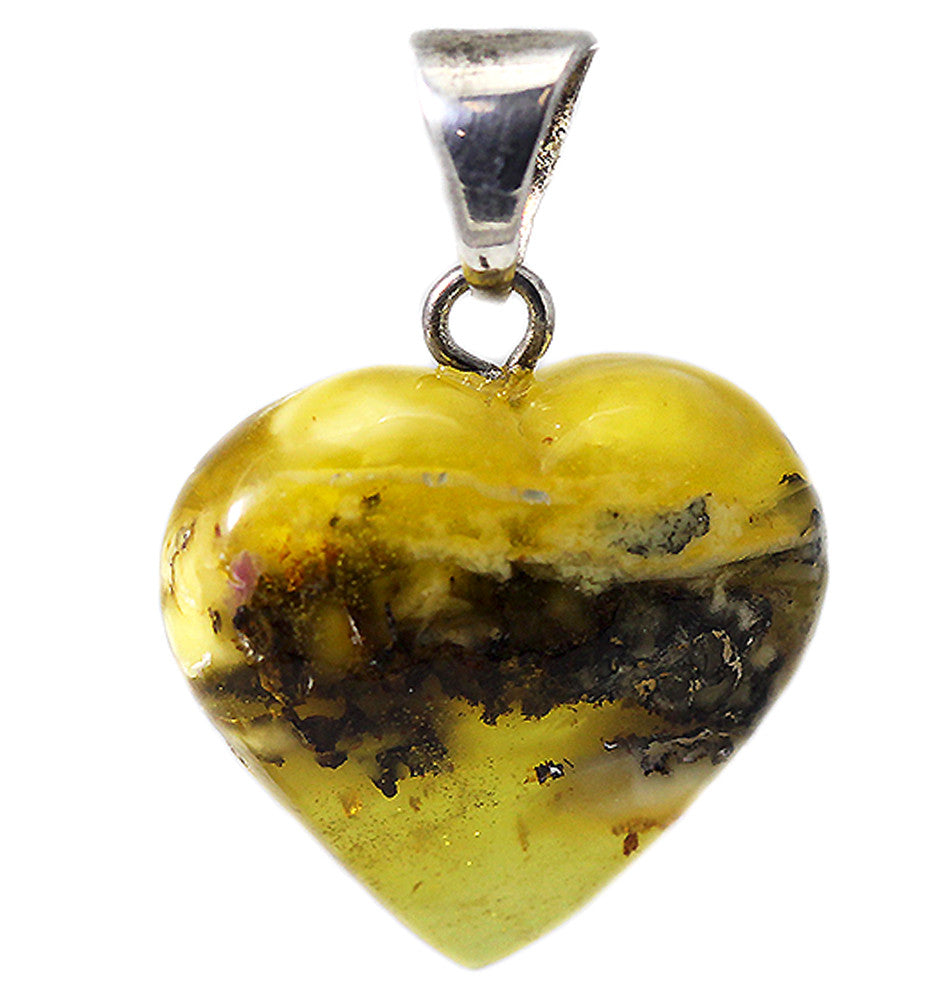Small Heart-Shaped Detailed Amber Pendant