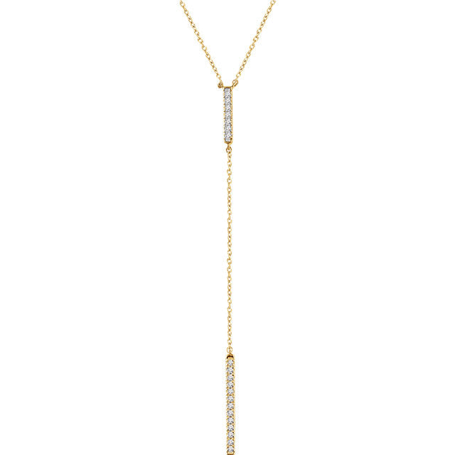 "14K Gold 1/5 CTW Diamond Bar ""Y"" 16-18"" Necklace"