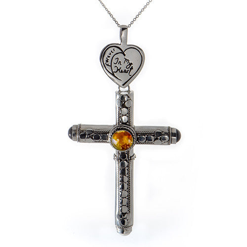 Handmade Sterling Silver Cross Pendant with Choice of Gemstones